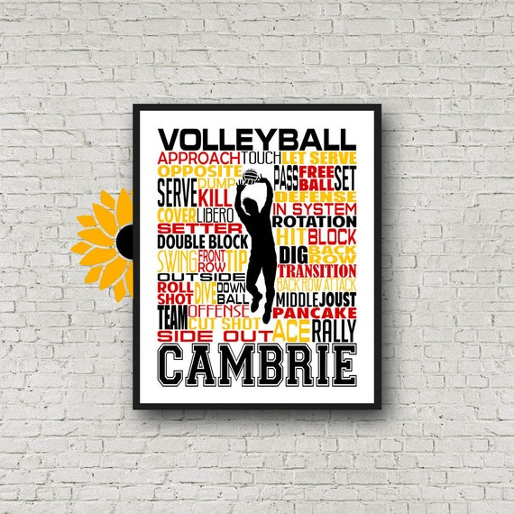 Gift for Volleyball Setter, Personalized Volleyball Setter Poster, Volleyball Typography, Volleyball Team Gift, Volleyball Print