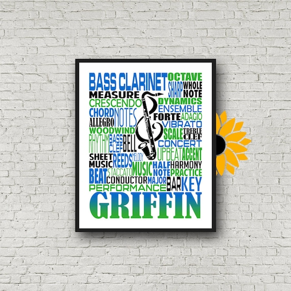 Personalized Bass Clarinet Poster, Bass Clarinet Typography, Bass Clarinet Player Gift, Bass Clarinet Gift, Band Gift, Marching Band
