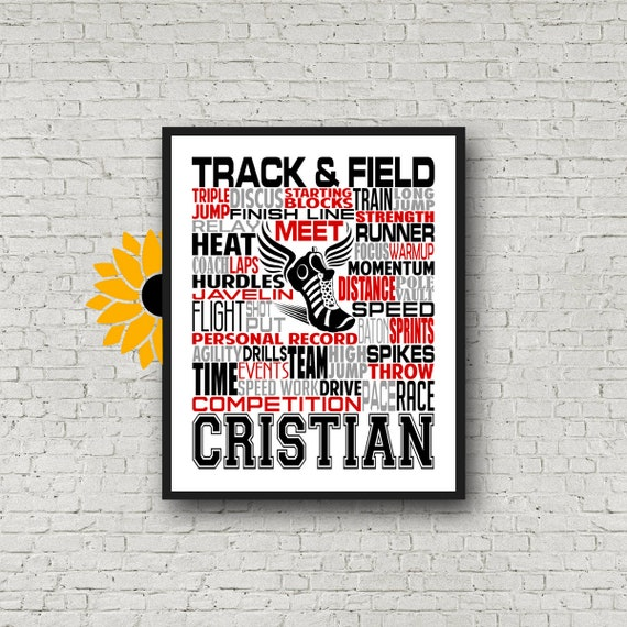 Track and Field Typography, Track & Field Poster, Track and Field Team Gift, Long Jump, High Jump, Pole Vaulter, Discus, Shotput, Javelin
