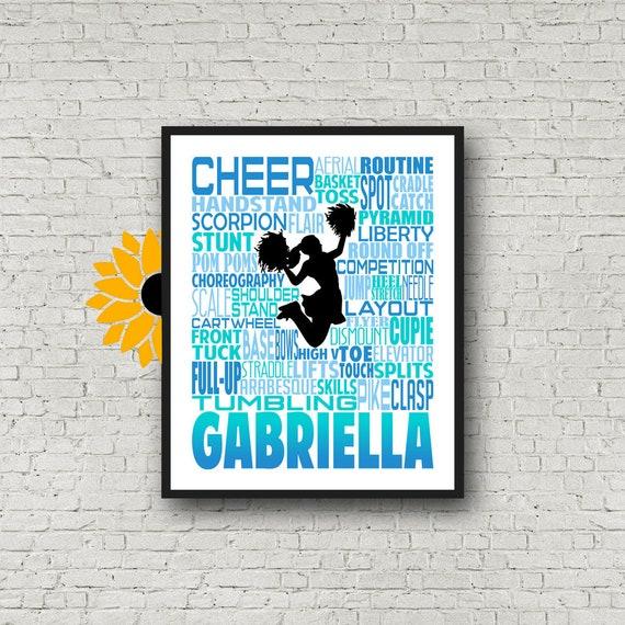 Cheerleader Art, Cheerleading Gift, Gift for Cheerleaders, Cheer Team Gift, Cheerleading Print,Personalized Cheerleading Poster Typography