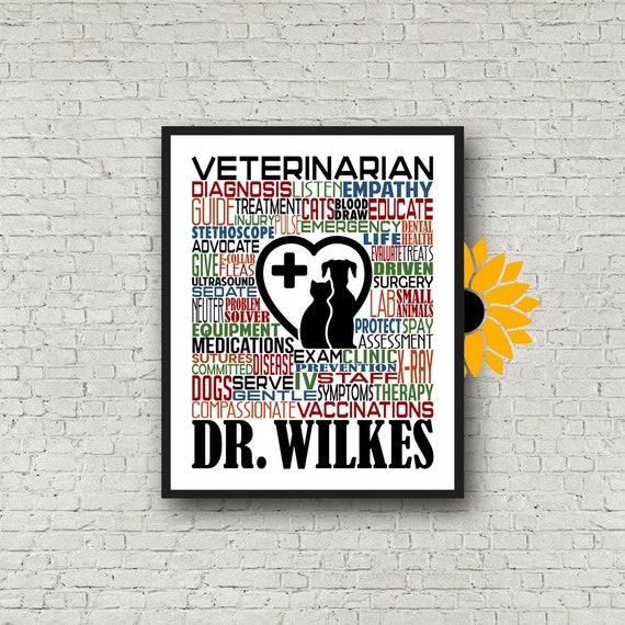 Gift for Veterinarian, Personalized Veterinarian Poster, Veterinarian Typography, Veterinarian Gift, Vet Gift, Vet Typography, Gift for Vet