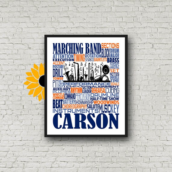 Personalized Marching Band Poster, Marching Band Teacher Gift, Gift for Music Teacher, Band Instructor, Conductor Gift, Marching Band Gift