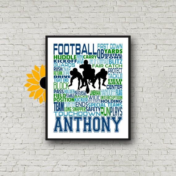 Gift for Football Player, Personalized Custom, Football Art, Football Poster, Football Team Gift, Typography Customized Print Gift for Him