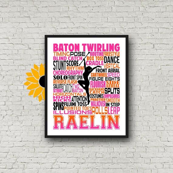 Personalized Baton Twirling Poster, Baton Twirling Typography, Gift for Baton Twirler, Baton Twirling Team Gift, Majorette Gift