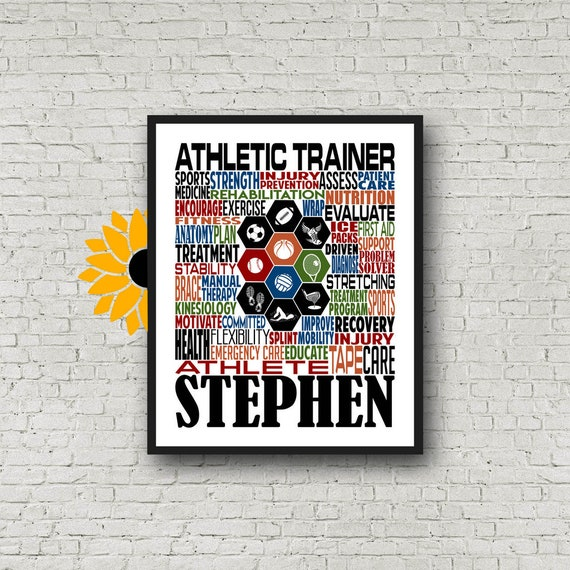Personalized Athletic Trainer Poster, Athletic Trainer Typography, Gift for Athletic Trainer, Sports Medicine Kinesiology Physiology Gift