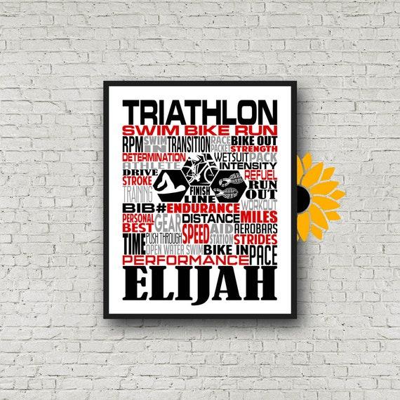 Personalized Triathlon Poster, Triathlon Typography, Triathlon Gift, Gift for Triathlete, Gift for Triathlete, Swim Bike Run