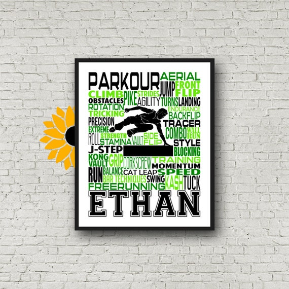 Personalized Parkour Poster, Gift for Parkour, Gift for Freerunner, Parkour Typography, Freerunning Typography, Tracer Gift, Parkhour Gift