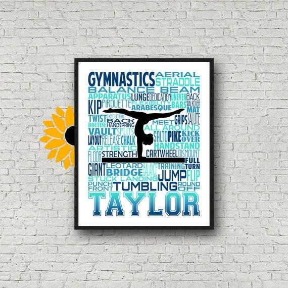 Gymnast Balance Beam, Gymnastics Typography, Gymnast Poster, Gymnast Gift, Gift for Gymnasts, Gymnastic Team Gift, Gymnastic Art