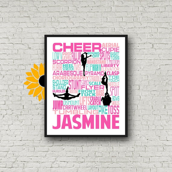 Cheerleading Typography Poster, Personalized Cheerleader Art, Summit Cheer Gifts, Gift for Cheerleaders, Cheer Team, Cheerleader Wall Art