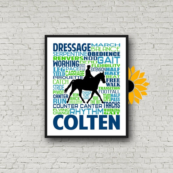 Dressage Typography, Personalized Dressage Poster, Gift for Equestrians, Gift for Horse Lovers, Horseback Riding, Horseback Rider