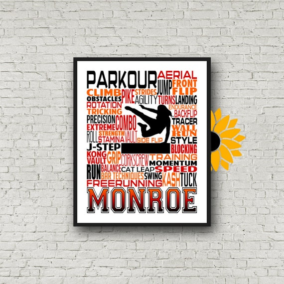 Gift for Parkour, Personalized Parkour Poster, Gift for Freerunner, Parkour Typography, Freerunning Typography, Tracer Gift, Parkhour Gift