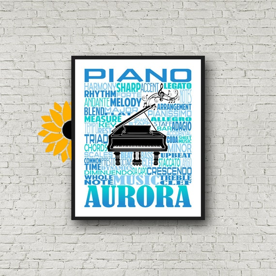 Piano Typography, Personalized Piano Poster, Piano Art, Piano Gift, Custom Piano, Gift for Piano Player, School Band Gift