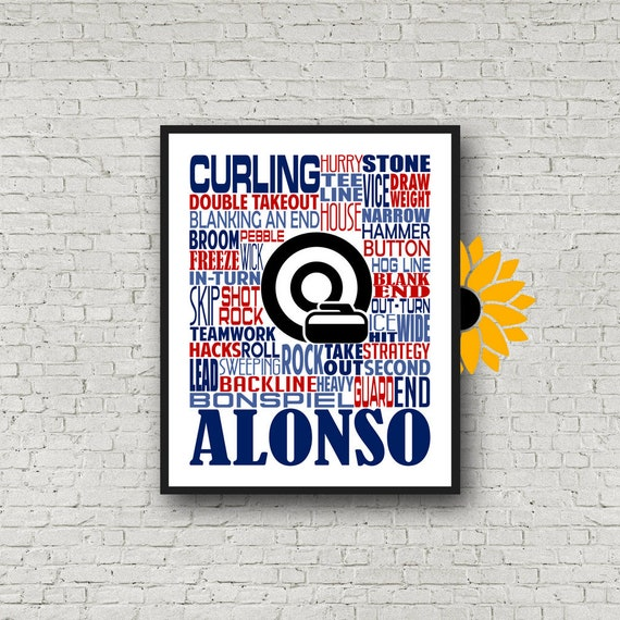 Personalized Curling Poster, Curling Typography, Gift for Curling, Curling Stone Gift, Curling Player, Curling Rock, Curling Ice Game