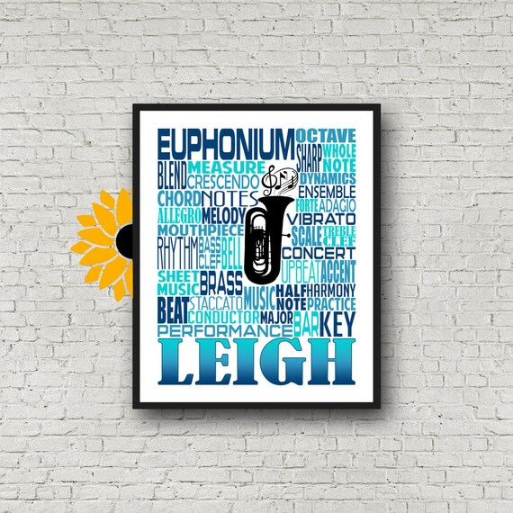Euphonium Typography, Personalized Euphonium Poster, Euphonium Player Gift, Euphonium Gift, Custom Euphonium, Band Gift, Marching Band