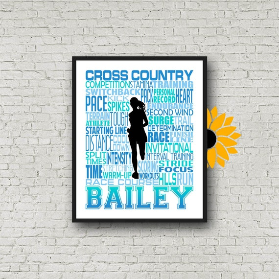 Personalized Cross Country Poster, Cross Country Team, Gift for Runners, Cross Country Typography, Marathon Gift, 26.2 13.1, Gift for Runner