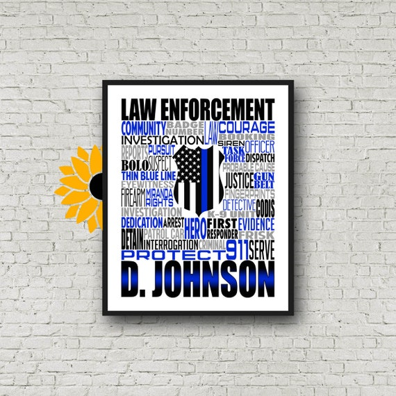Blue Lives Matter, Thin Blue Line Print, Personalized Law Enforcement Poster, Police Officer, Gift for Law Enforcement, Gift for Police