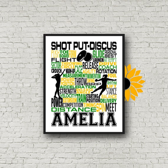 Personalized Shot Put/Discus Thrower Poster, Shot Put Typography, Track and Field gift, Discus Thrower, Shot Put and Discus Thrower,