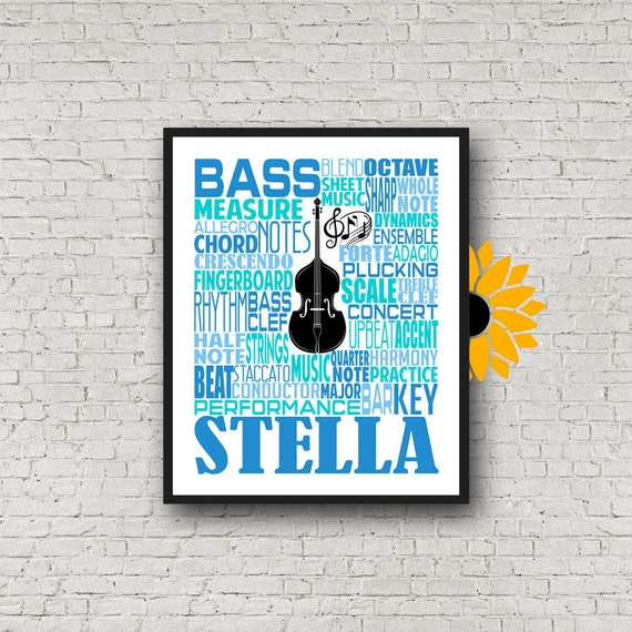 Personalized Double Bass Poster, Double Bass Typography, Double Bass Player Gift, Custom Cello, Gift for Double Bass Player