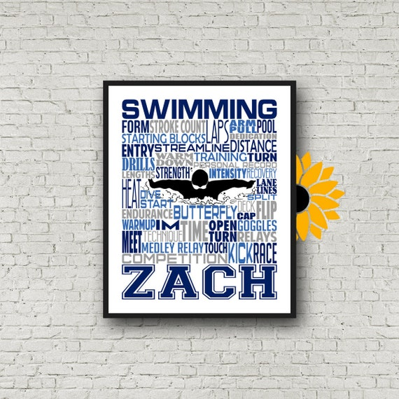 Personalized Butterfly Swimming Poster, Swimmer Typography, Gift for Swimmer, Swimming Team Gift, Swimmer Wall Art, Swimming Print