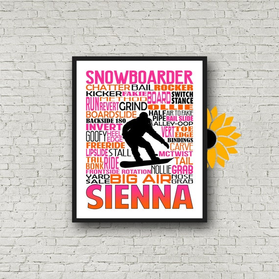 Snowboarder Typography, Female Snowboarding Typography, Personalized Snowboarder Poster, Gift for Snowboarder, Snowboarding Team Gift