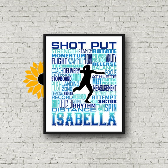 Shot Put Typography, Personalized Shot Put Thrower Poster, Shotput Poster, Gift for Shot Put, Track and Field gift, Track Team gift