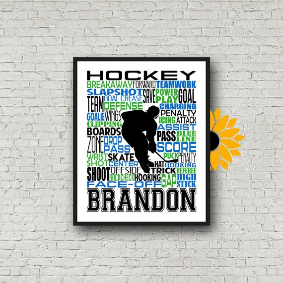 Personalized Ice Hockey Poster, Typography, Hockey Player Gift, Gift for Hockey, Hockey Team Gift, Hockey Art, Hockey Print, Hockey Wall Art