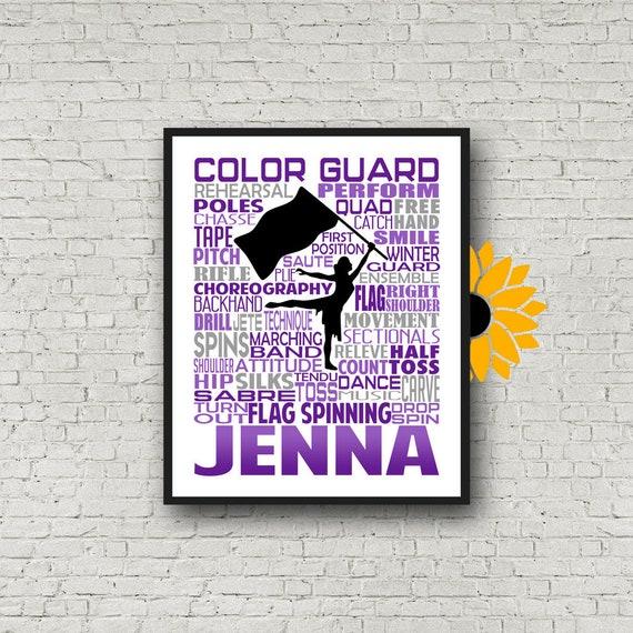 Personalized Color Guard Poster, Color Guard Typography, Gift for Color Guard, Color Guard Team Gift, Flag Spinner Poster, Flag Spinners