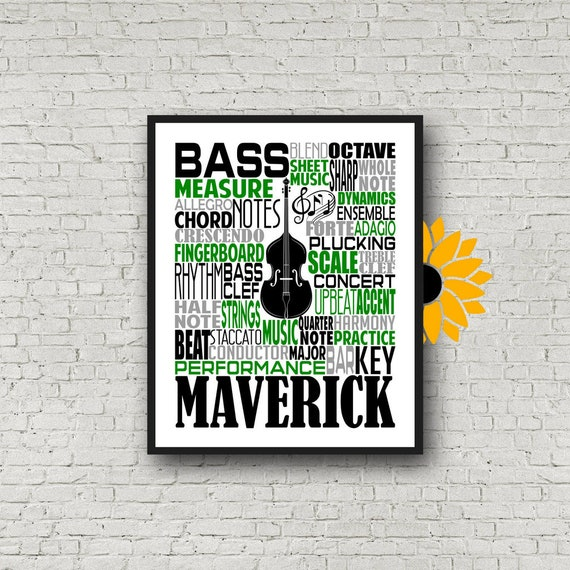 Double Bass Typography, Personalized Double Bass Poster, Double Bass Player Gift, Custom Cello, Gift for Double Bass Player