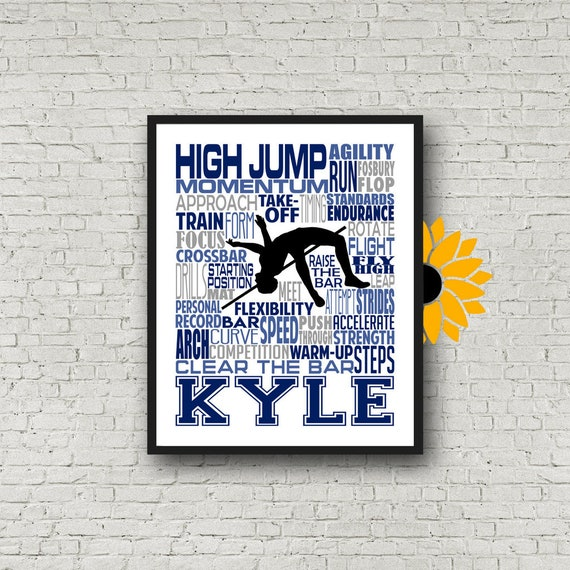 Personalized High Jump Poster, Gift for High Jumper, Track and Field gift, Track Team gift, High Jump Gift,  High Jump Typography