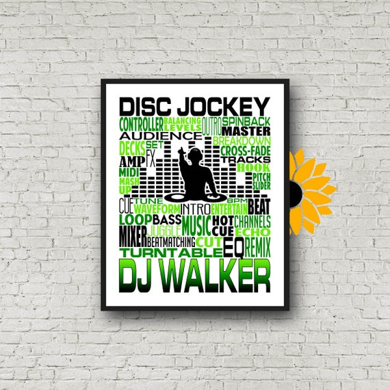 Gift for DJ, Disc Jockey Poster, Gift for Disc Jockey, Gift for Music Lover.  DJ Typography, Disc Jockey Print, Personalized DJ Poster