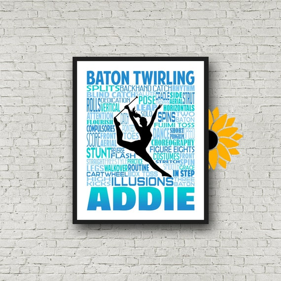 Personalized Baton Twirling Poster, Baton Twirling Typography, Gift for Baton Twirler, Baton Twirling Team Gift, Majorette Gift