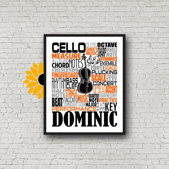 Cello Typography, Personalized Cello Poster, Cello Player Gift, Cello Art, Cello Gift, Custom Cello, Gift for Cello Player, School Band Gift