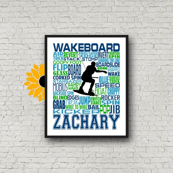 Wakeboarding Typography, Personalized Wakeboarding Poster, Wakeboarding Art, Wakeboarder Typography, Gift for Wakeboarder, Wakeboard Poster