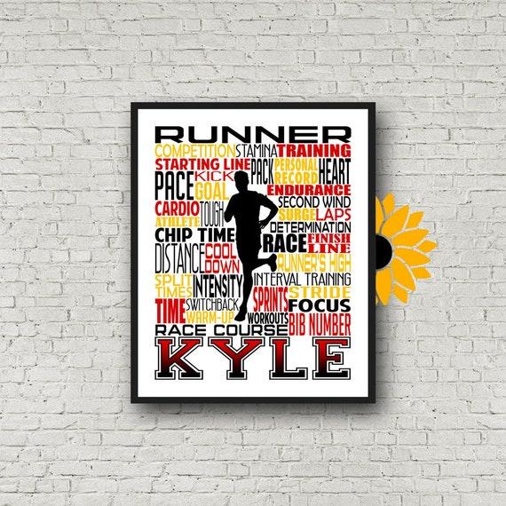 Gift for Runner, Personalized Running Poster, Runner Typography, Marathon Gift, Runner Art, Running Print 26.2 13.1 Gift for Runners