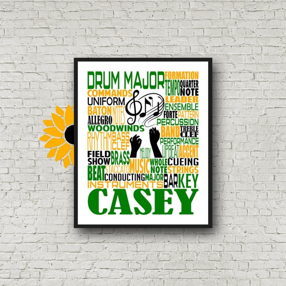 Drum Major Typography, Personalized Drum Major Poster, Drum Major Gift, Gift for Drum Major, Band Instructor, Conductor Gift, Marching Band