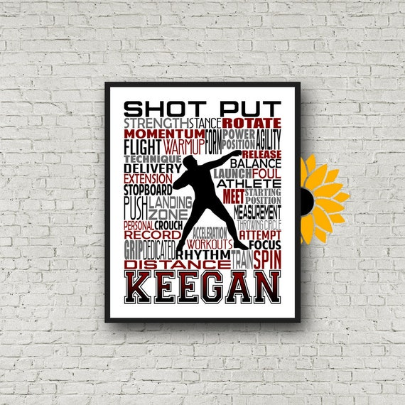Personalized Shot Put Thrower Poster, Shotput Poster, Shot Put Typography  Gift for Shot Put, Track and Field gift, Track Team gift