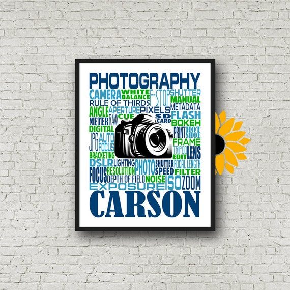 Gift for Photographer, Photographer Typography, Personalized Photography Poster, Photographer Wall Art, Photographer Print