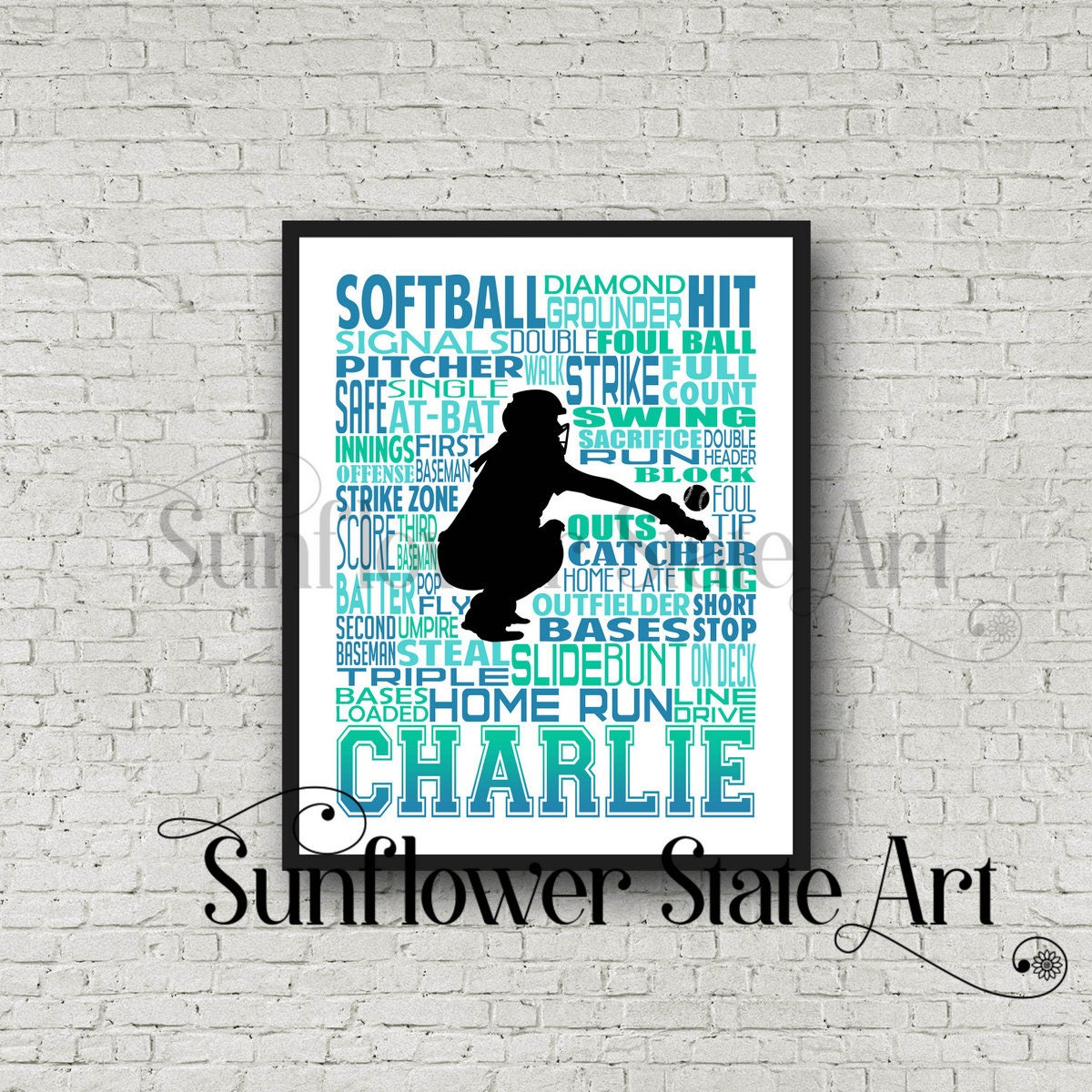 Personalized Softball Poster Typography, Softball Gift Ideas