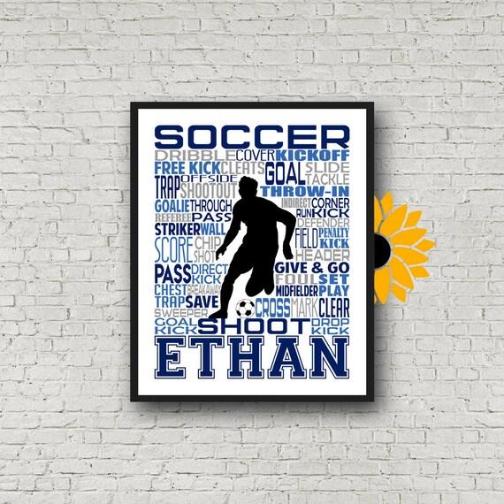 Soccer Team Gift, Male Soccer Player Typography, Gift for Soccer Players Keeper, Soccer Gift, Soccer Team Gift, Soccer Print