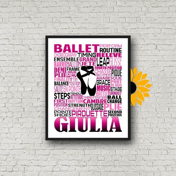 Personalized Ballet Typography, Ballet Poster, Gift for Ballet Dancers, Ballet Art, Ballet Print, Dancer Gift, Dancer, Dance Team Gift