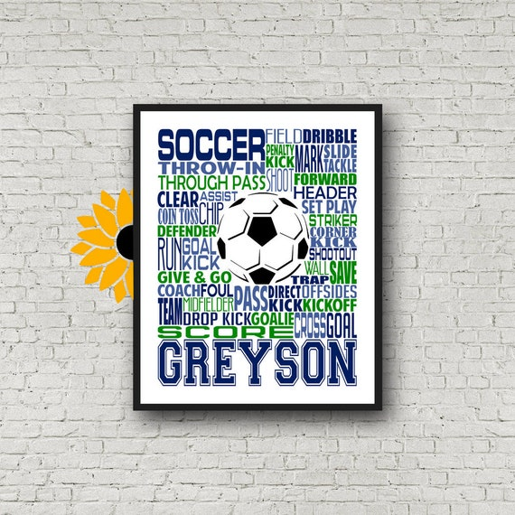 Soccer Typography, Personalized Soccer Poster, Gift for Soccer Players, Soccer Gift, Soccer Team Gift, Soccer Print, Soccer Player Art
