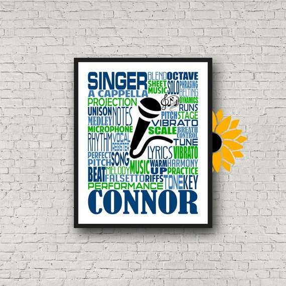 Personalized Singing Poster, Singer Typography, Choir Teacher Gift, Gift for Music Teacher, Choir Director, Conductor Gift, Chorale Gift
