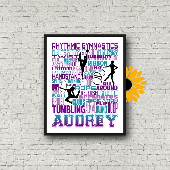 Rhythmic Gymnast Typography, Personalized Rhythmic Gymnastics Poster, Gymnast Gift, Gift for Rhythmic Gymnasts, Rhythmic Gymnastics Gift