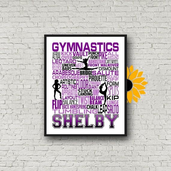 Personalized Gymnastics Poster, Gymnastics Typography, Gymnast Gift, Gift for Gymnasts, Gymnastic Team Gift, Gymnastic Art, Gymnast Print