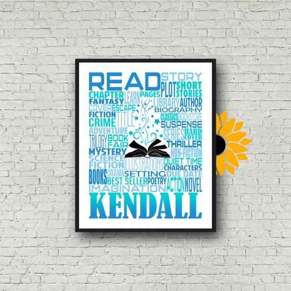 Book Lover Gift, Summer Reading Program Gift, Personalized Reading Poster, Gift for Reader, Librarian Gift, Librarian Typography