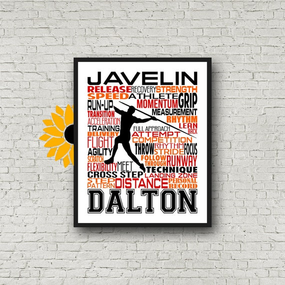 Personalized Javelin Thrower, Track and Field Art, Javelin Poster, Javelin gift, Track and Field Team Gift, Javelin Typography