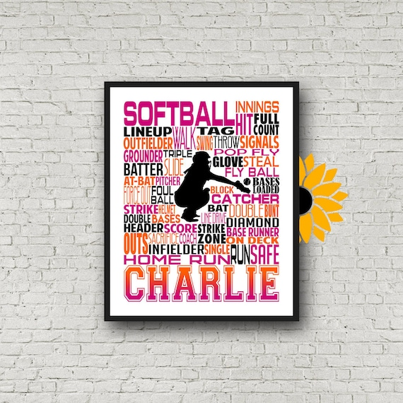Personalized Softball Poster Typography, Softball Gift Ideas, Gift For Softball Players, Softball Wall Art, Softball Team Gift