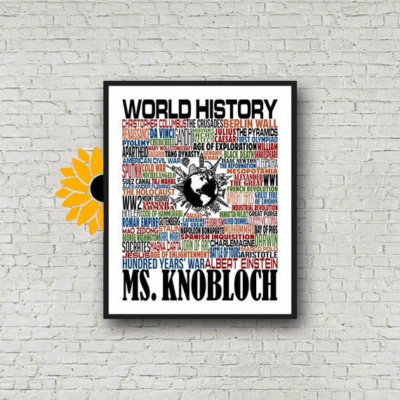 World History Typography, Personalized History Teacher Poster, World History Teacher Gift, Gift for World History Teacher, History Gift