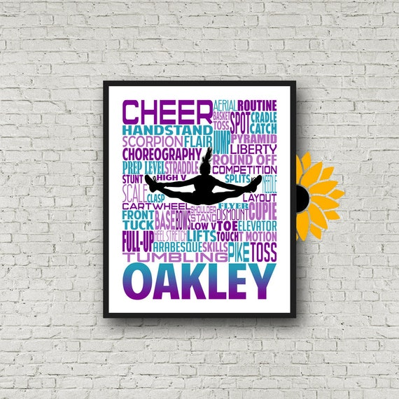 Cheer Gift, Personalized Cheerleader Art, Summit Cheer Gifts, Gift for Cheerleaders, Cheer Team, Cheerleader Wall Art, Cheer Typography