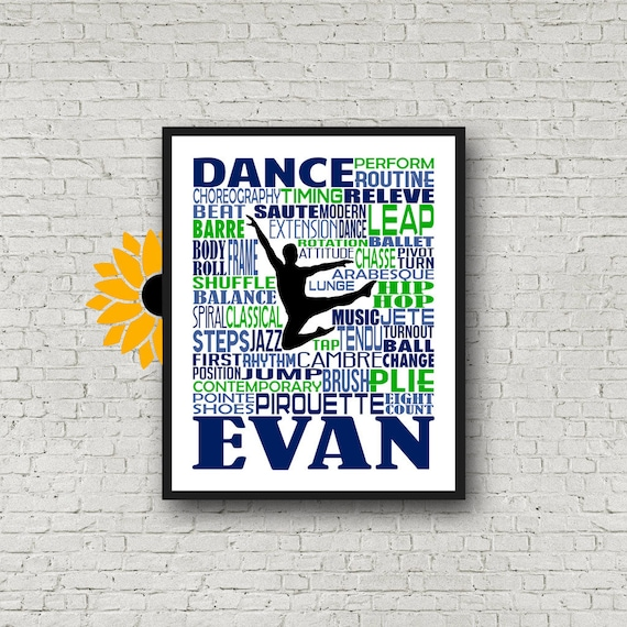 Personalized Male Dance Poster, Gift for Boy Dancer, Dancing Art, Dancing Print, Dancer Typography,  Dance Team Gift, Guy Dancer